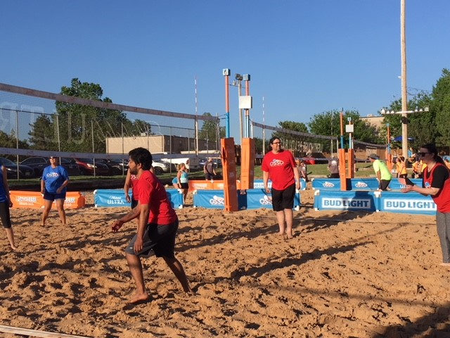 Sand volleyball league game