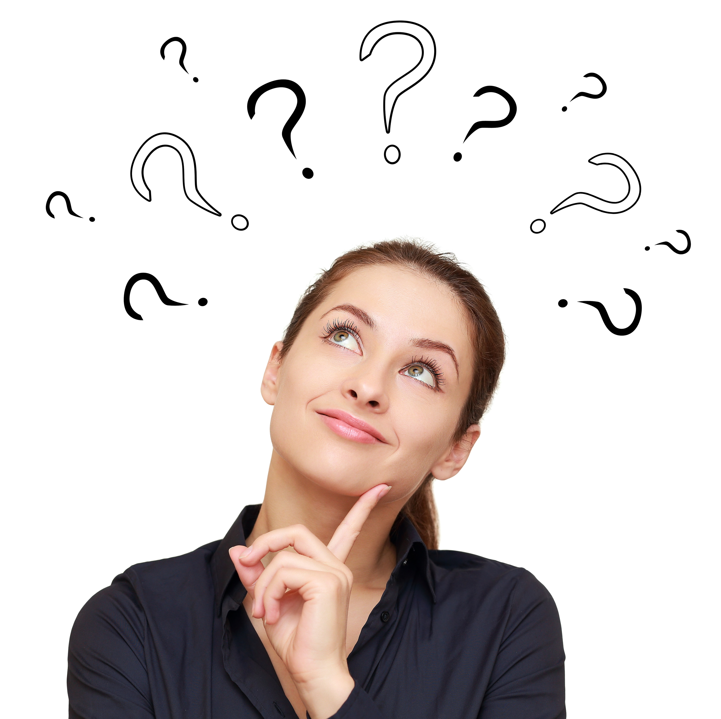 Woman smiling with question marks above her head